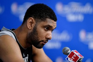 Jun 4, 2014; San Antonio, TX, USA; San Antonio Spurs forward Tim Duncan (21) speaks to the media after practice before game one of the 2014 NBA Finals against the Miami Heat at the AT&T Center. Mandatory Credit: Bob Donnan-USA TODAY Sports